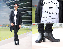 Juan Lorenzo - Fnh Eyewear, Initial Parka, 5preview Previewby5preview Shirt, Uniqlo Pants, Bndlno Boots - FUTURISTIC PREVIEW