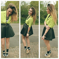 Claire Ashfield - H&M Skirt, Topshop Shoes, Thrifted Jacket, Primark Necklace - Neon.