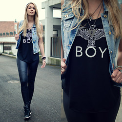 Vanessa Ciliberto - Asos Denim Vest, Boy Shirt, Calzedonia Leather Pants, Brandy Melville Usa Necklace - Style switch
