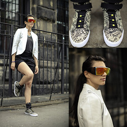 Mariquel Waingarten - Hickies Black And Green Elastic Laces, Supra Snakeskin Sneakers, White Leather Jacket, Grandpa's Polarized Shades - One Step Closer to Marty McFly's Future