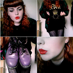 Courtney Farrow - Mac Lady Danger, Simple Minds Gold Heart Tshirt, H&M Black Skirt, Ebay Mohair Cardigan, Dr. Martens Purple Boots, Primark Faux Gold Hoops, Plain Studs - 1980's Throwback