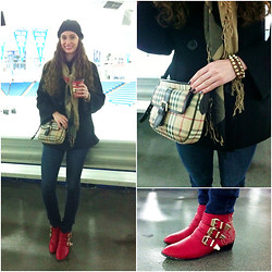 Pauline - Burberry Scarf, Burberry Bag, Vigoss Jeans, Forever 21 Boots - Last Winter Look