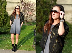 Ula H - Zara Moro Bomber Jacket, Zara Boots, Carrera Sunglasses, Triwa Watch - Blending in the background
