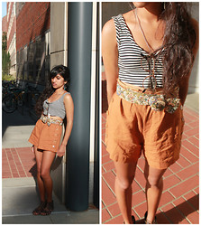 Sneha Bee - Handmade Striped Top, Urban Outfitters Burnt Orange Shorts, Flower Belt, Urban Outfitters Glasses, Forever 21 Gladiator Sandals - Forging old passions