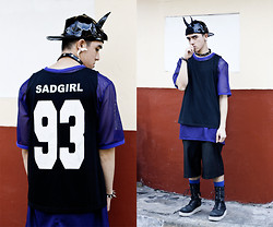 Paul Jatayna - Os Aquademon Cap, Os Dogtooth Earring, Salad Day Glitch Catcher Oversize Shirt, Proud Race Sad Girl Tank Shirt, Mogul Leather Shorts, The Damned Rev Man Boots - ZOMBY