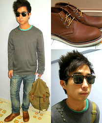 Aaron Tan - Topman Sunnies, Brandless Turquoise Tee, Brandless Grey Long Sleeve, Ministry Of Clothing Diy Studs, Minikin Army Green Rucksack, Redwings Brown Boots, Croxx Washed Out Jeans - Turtle Shell , Studs and my new Redwings