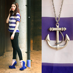 Victoria Jameson - Nordstroms Sheer Cobalt And White Striped Blouse, Express Black Riding Pants, Steve Madden Cobalt Gravitty Platforms, Urban Outfitters Silver Anchor Necklace - Nautical Gravitty
