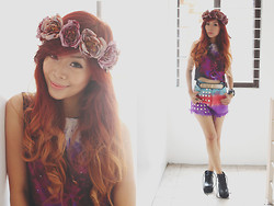 Rhea Bue - Il Fiore Lianne Floral Headdress, Shopaholic Galaxy Crop Top, Shorts Station Ombre - LOOK 182: Step Into My Galaxy
