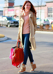 Marta Tryshak - Mackage Abella Trench Coat, Club Monaco Jasmine Cashmere Sweater, 7 For All Mankind Skinny Jeans, Coach Madison Lindsey Satchel, See By Chloé Shearling Booties - Spring Shopping