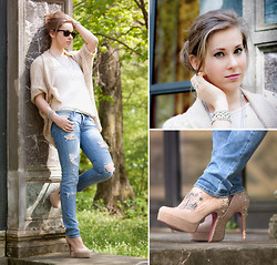 Emma SK - River Island Cardigan, American Eagle Denim, Gina Tricot White Tee, Reno Tan Sequined Heels - Here comes the sun