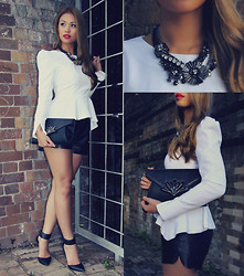 Jessica Tuong - Mimco Necklace, Colette Clutch, Wanted Heels, Sheike Peplum Top - Monochrome Magic 2.0