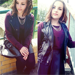 Marta O - Cubus Violet Blouse, Reserved Pink Necklace, Leather Vest - Boulevard Of Broken Dreams