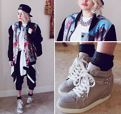 Bebe Zeva - Aloha From Deer Paradise Baseball Jacket, Guess? Popstar Sneaker Wedges - HOLIER THAN THOU