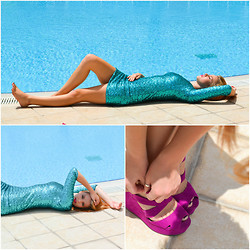 Halina Myers - Office Pink Wedge Heels, Topshop Turquoise Sequin Dress - XXYYXX - About You