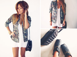 Cheyser Pedregosa - Jeffrey Campbell Studded Boots, Next Jeans Camo Jacket, Mango Top, Sm Accessories Bag - Army-stice