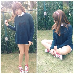 Carol♡ M - Topshop Cat Sweater - Meow❥