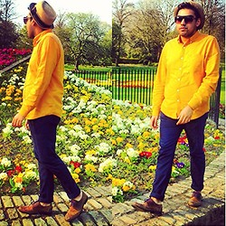 Umar Iqbal - Topman Yellow Rust Shirt, Topman Navy Jeans, Topman Brogues, Joy Shades, Zara Straw Hat - Summer Lovin'