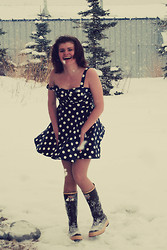 Emily R - Xtratuff Boots, Thrifted Polka Dot Dress - Marilyn Monroe is Alive in Alaska
