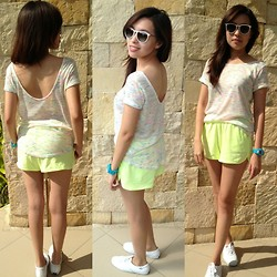 Mikee Li Bi - Forever 21 Neon Shorts, Forever 21 Top, Keds Shoes, Ray Ban Shades, G Shock Watch - Comfy Neons
