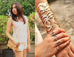 Nadya Joy - Random Crochet Top, Random Lace Shorts, Chanel Quilted Flap Bag, Forever 21 Cuff, Diva Initial Rings - Light Fleurs