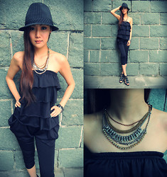 Ashley Ellabel - Dotti Striped Hat, Sambag Venna Crystal Chain Tassel Necklace - Never go wrong with BLACK