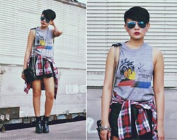 Kookie B. - Mini Brenda, Leather Shorts, Buckled Boots, Mirrored Sunglasses - 90s Revival