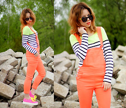 Wioletta Mary Kate - Cropp Blouse, Persun Dungarees, Rocket Dog Shoes - Full Neon !