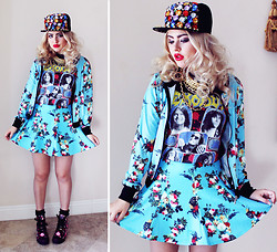 "Bebe Zeva - Romwe Blossom Print Jacket + Skirt Set, Romwe Jeweled Snapback, Daddy's Money ""Gimme"" Sneaker Wedges - THRASH BLOSSOM"