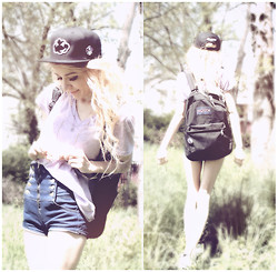 Alissa L - Cloud Kicker Snapback Hat, Thrifted Pastel Lilac V Neck, High Waist Button Up Shorts, Jansport Backpack, Haute1 Necklace - CLOUD KICKER