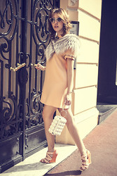 Lady Fur Welovefur - Italian Indipendent Sunglasses, Carlo Ramello Fur Neck, Moschino Dress, Moschino Heels - Spring in Monte Carlo