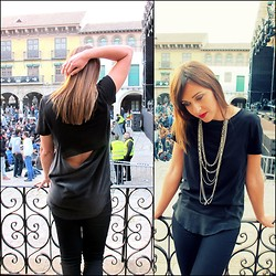 Sofia Vagueiro - Zara Open Back Shirt, Stradivarius Black Pants, Sky Republic Silver Necklace - Shelter- The XX