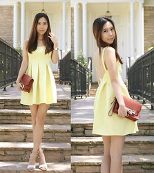 Joan K. - Zara Dress, Proenza Schouler Bag, Zara Shoes, Cartier Watch - Yellow Jacquard