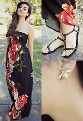 Gabrielle Deanna - Rue21 Beetle Earrings, Rue21 Flower Strapless Dress - May Blooming.