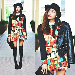 Heliely Bermudez - Sheinside Black Long Sleeve Geometric Dress - Geometric Dress + Bowler Hats