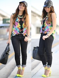 Daniela Ramirez - H&M Necklace, Item Black Jeans, Cotton On Baseball Hat - Tropical Kaleidoscope...