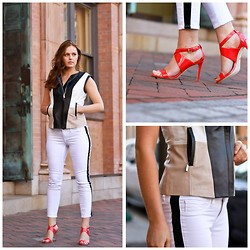 Charlotte Bridgeman - Bebe Leather Vest, Express Tuxedo Jeans, Charles David Coral Heels - Gilet