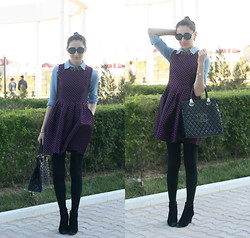 Aigyz Rebelle - Denim, Roberto Cavalli Just, Chanel Bag, Chanel Glasses - Purple Dress
