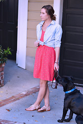 Amanda H. - Old Navy Floral Dress, Madewell Chambray Shirt, Aldo Neutral Sandals - Summer Lovin'