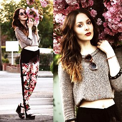 Zoë G - Ombre Floral Trousers, Local Highstreet Shop Cropped Jumper, Asos Sunglasses And Bracelet - Fading into Florals