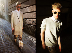 Robbie Jonsson - Vintage Sunglasses, Pour Homme (Showpiece) Shirt, Carin Wester Tshirt, Carin Wester Coat, Carin Wester (Showpiece) Printed Pants, Cheap Monday Desert Boots - Old Town, Stockholm