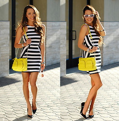Jessica R. - Clothes Envy Stripe Mini Dress, Choies Clear Wedge Heels, Similar Yellow Bag, Target White Sunnies - More Stripes and Brights