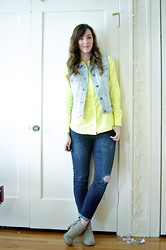 Kelly M. - Forever 21 Denim Vest, Gap Neon Button Down, Gap Jeans, Dolce Vita Suede Boots - Denim with yellow
