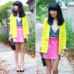 Connie Cao - River Island Blazer, Shakuhachi Skirt, Vintage Clutch, Mode Collective Shoes - Autumn