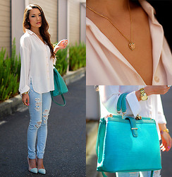 Jessica R. - Mimi Boutique Seafoam Bag, Gold Heart Necklace, Pacsun Ripped Denim, Queen's Wardrobe Pink Blouse, Shoedazzle Mint And Pink Heels - Polished in Pastels