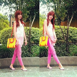R.A. Basilan - Bcbg Sheer Top, Random Skinny Jeans, The Landmark Floral Flats, Karen Lee Bag - Primrose Garden