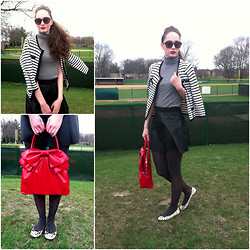 Pauline - Lacoste Sunnies, Forever 21 Striped Cardi, Thrifted Sleeveless Turtle Neck, Forever 21 Faux Leather Skirt, Valentino Bag, Marc By Jacobs Flats - Big Red Valentino Bow