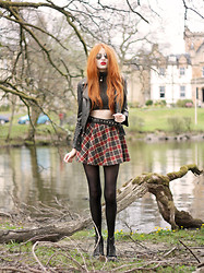 Olivia Emily - Spiked Jacket, Cagecity High Neck Sparkly Crop Top, Plaid Skirt, Diy Studded Belt, Dr. Martens Boots, Sunglasses - Loch View.