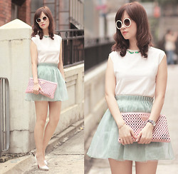 Mayo Wo - Romwe Round Sunnies, Earl Grey Party Crystal Beaded Top, Yesstyle Minty Mesh Skirt - Emerald with mint