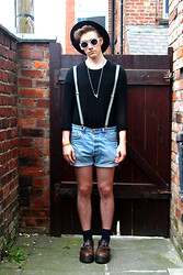 Richard M - H&M Net Jumper, Topman Necklace, Levi's® Shortshorts, Dr. Martens Buckle Shoes, Topman Fedora - If I could have a second skin I'd probably dress up in you.