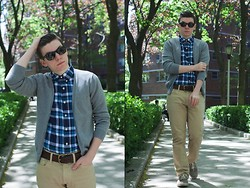 Ryan Charchian - Ray Ban Sunglasses, Topman Cardigan, Vince Button Down, Dr. Scholl's Shoes, American Eagle Denim, American Eagle Belt - Summer Plaid